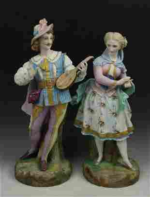 "19C Vion & Baury figurines ""Man with Lute & Lady"""