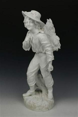 "19C Vion & Baury parian figurine ""Boy with Wheat"""