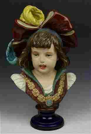 """Antique French terracotta figurine """"Bust of Boy"""""""