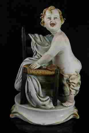 Capodimonte Tiche Galletti Figurine Baby Boy with Chair
