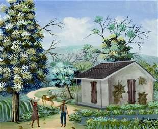 Eddy Jacques (Haiti,b 1957) oil painting