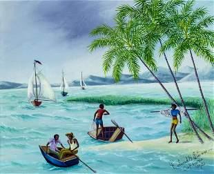 Roland Etienne (Haiti,20C) oil painting