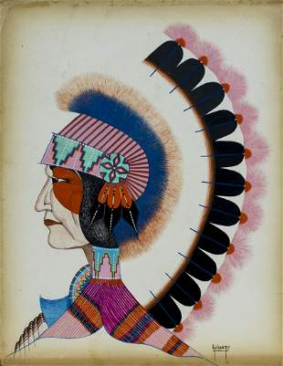 Ron Geionety (Kiowa,born 1950) gouache painting