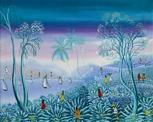 Vintage 20C Haitian oil painting signed