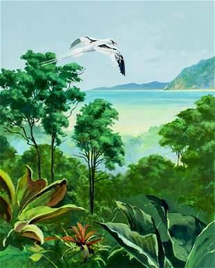 John Swatsley (US,b 1937) gouache painting
