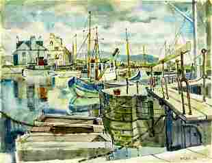 Alexander Inglis (UK,1911-1992) watercolor painting