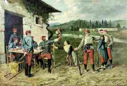 Gerardo Melendez (Spain,1856-?) oil painting antique