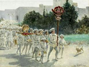 Jules Arsene Garnier (French,1847-1889) oil painting