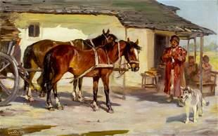 Jon Popp (German,1862-1953) oil painting