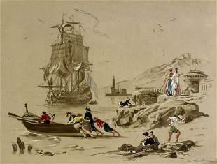 De Marcillac (French,19/20C) gouache painting antique