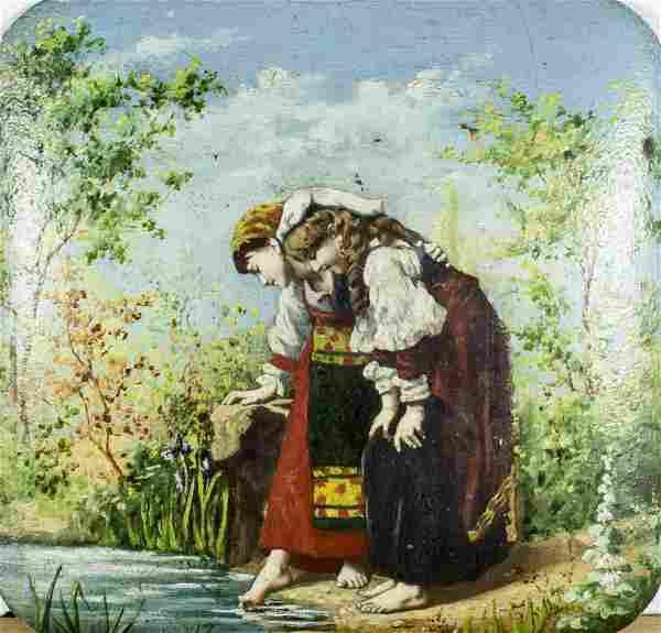 Antique 19C Italian oil painting