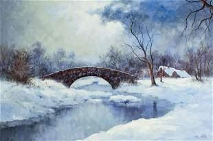 Hyun Bo Yoo (US,Korea,b 1946) oil painting