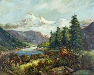 B Shaw (US,mid 20C) oil painting antique