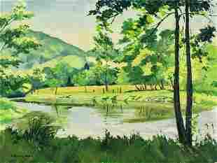 J Ramsey Hunt (US,mid 20C) oil painting