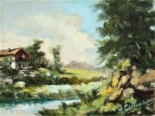 A Carlomagno (20C) oil painting Landscape