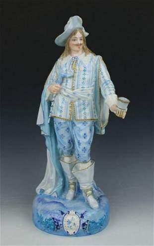 """19C Paul Dubois French porcelain figurine """"Cavalier"""""""