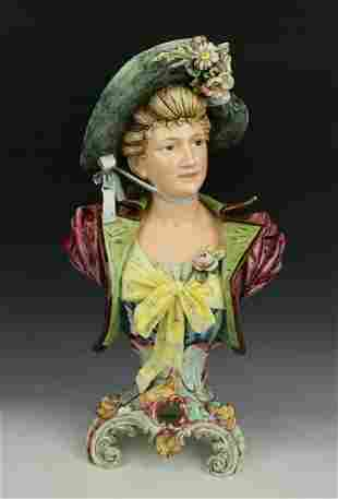 """Antique Royal Dux Majolica figurine """"Bust of Lady"""""""
