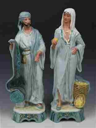 """Royal Dux 2 figurines """"Carpet Seller & Fruit Seller"""""""