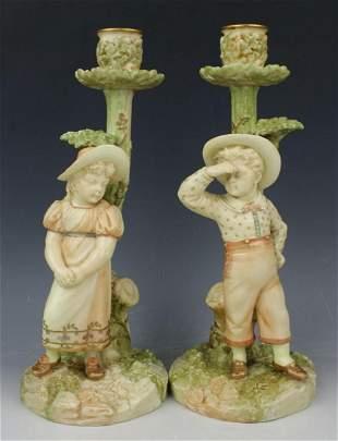 19C Royal Worcester Hadley 2 figurines 1141