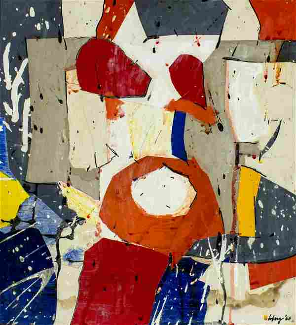 Robert Loberg (CA,IL,1927-1999) mixed media painting
