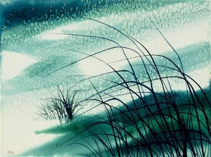 Fran Larsen (NM,IL,1937-2018) watercolor painting