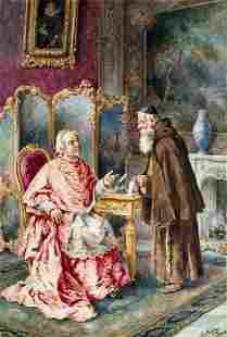 Ettore Ascenzi (Italy,19C) watercolor painting antique