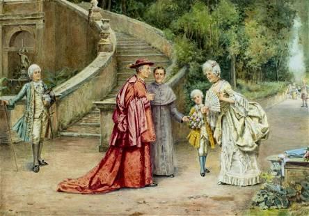 Renato Moretti (Italy,1863-1913) watercolor painting