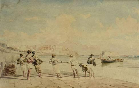 Pietro Bello (Turkey,1830-1909) watercolor painting