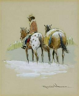 Robert Wagoner (CA,OH,1928-2017) gouache painting
