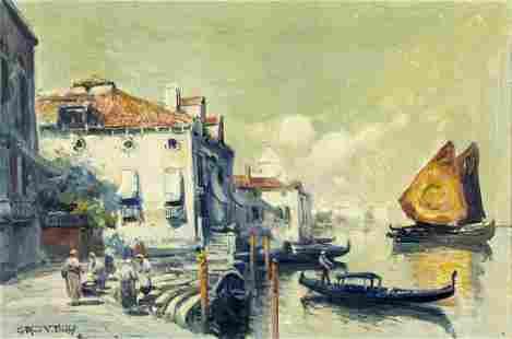 Arthur Diehl (MA,NY,UK,1870-1929) oil painting antique