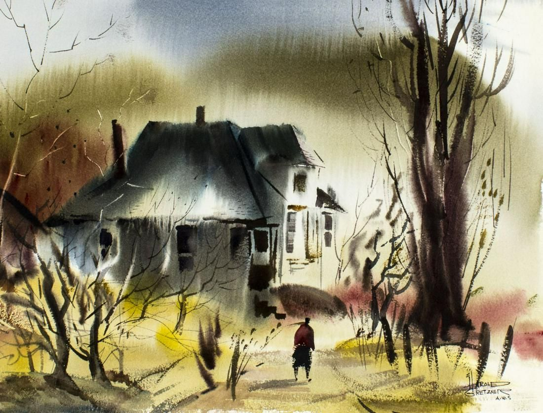 Harold Gretzner (CA,MD,1902-1977) watercolor painting