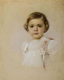 American mid 20C pastel painting Portrait