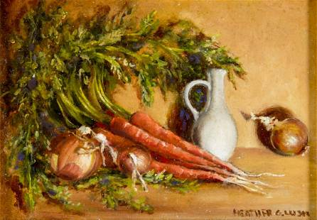 Heather Gibson Lusk (CT,20C) oil painting antique