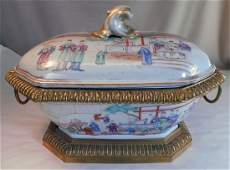 Chinese Export Porcelain Tureen with French Gilt Bronze