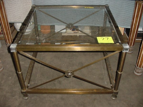 77: BRUSHED BRASS FRAME SIDE TABLE