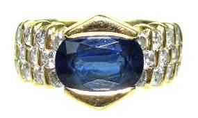 Ladys Kurt Wayne 18 Karat Sapphire  Diamond Ring