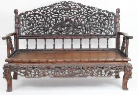 Chinese Carved Dragon & Bamboo Bench