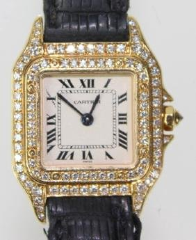 A Lady's 18 Karat Cartier Diamond Watch