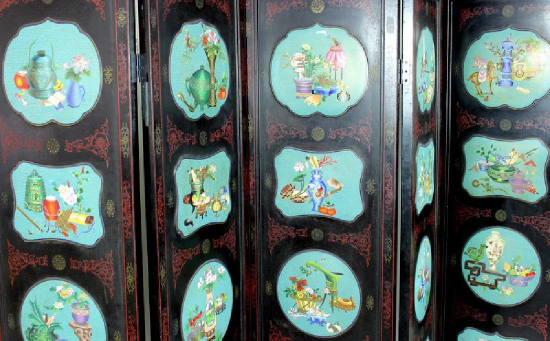 Chinese Cloisonne Screen - 9