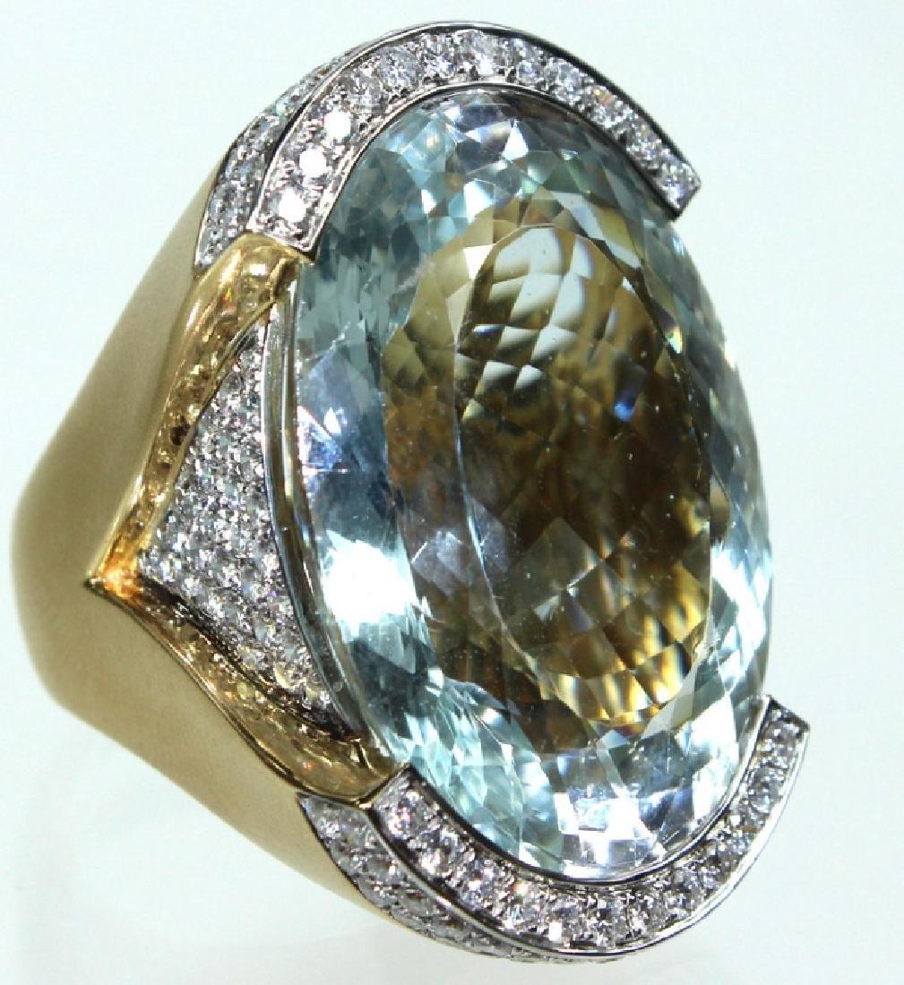 18 Karat David Webb Style Aquamarine Diamond Ring
