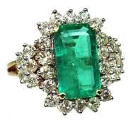 A Ladies 14 Karat Emerald  Diamond Ring