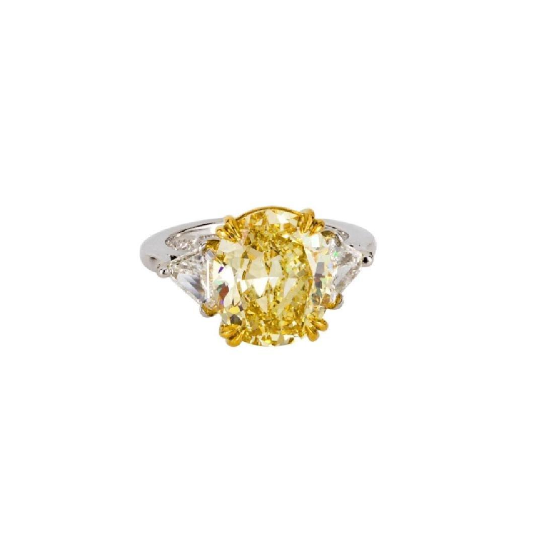 GIA Certified 5.25 Carat Fancy Yellow Diamond Ring