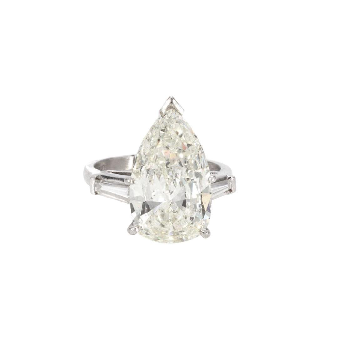 Ladies Platinum 5.66 Carat Pear Diamond Ring