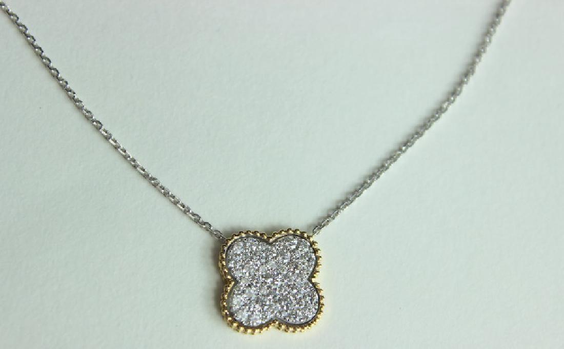 Van Cleef & Arpels Style Diamond Clover Necklace