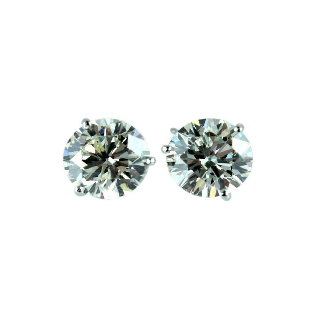 Fabulous Pair 9.39CTS Round Diamond Earrings