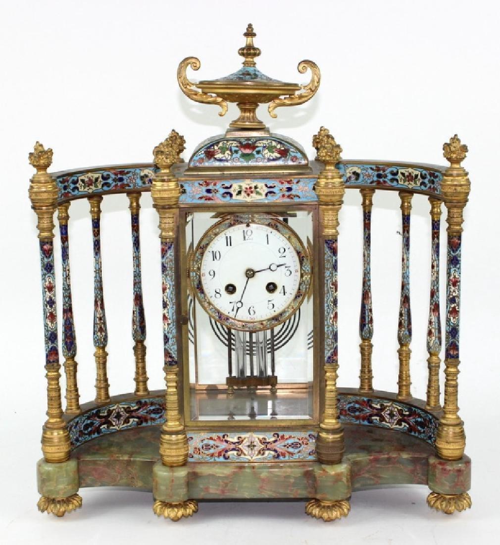 Antique French Onyx Champleve Enamel Clock
