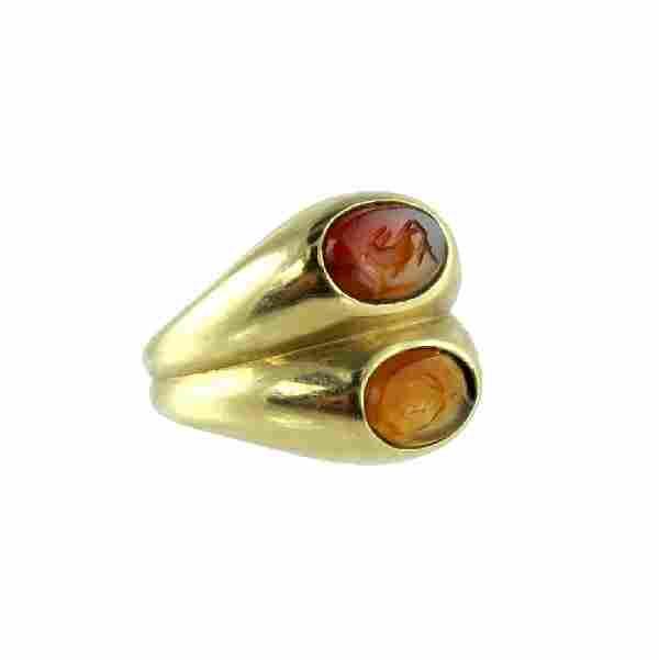 Mid Modern 18K Yellow Gold Bulgari Intaglio Ring