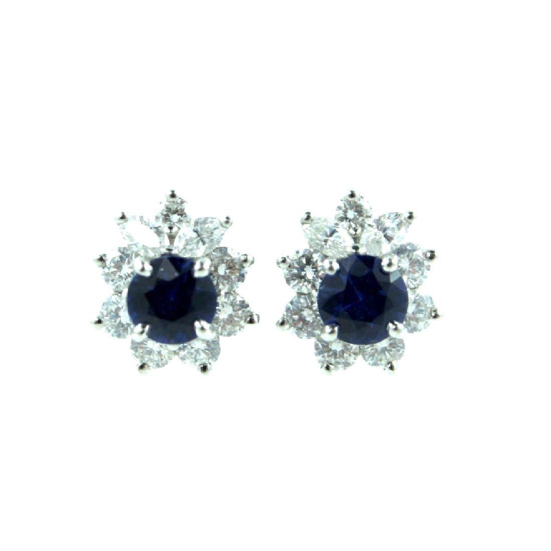 Tiffany & Co Platinum Sapphire & Diamond Earrings