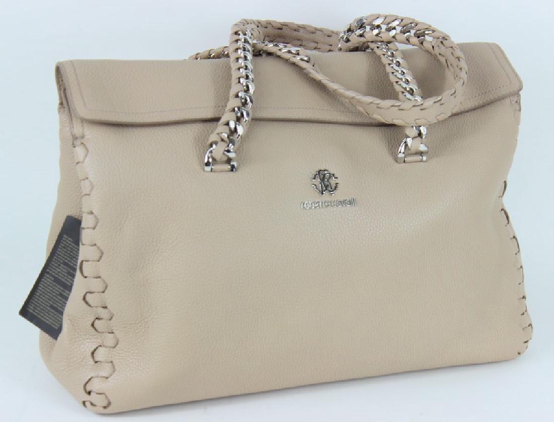 Roberto Cavalli Beige Leather Hand Bag