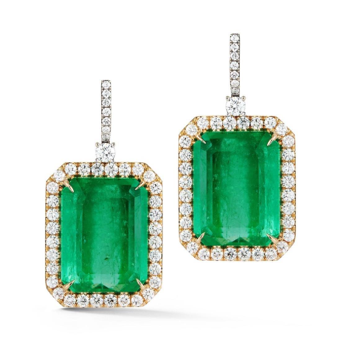 Important Colombian Emerald & Diamond Earrings